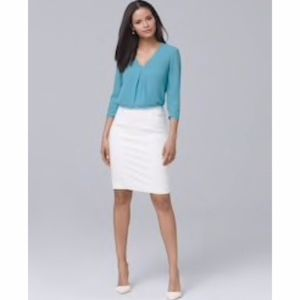 """WHBM """"Perfect Form"""" White Pencil Skirt - NEW!"""